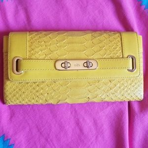 Coach Swagger Python Embossed Wallet Clutch Light